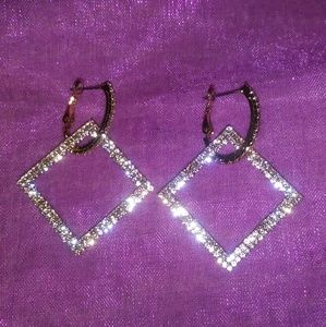 Beautiful Faux Krystal Square fashion earrings